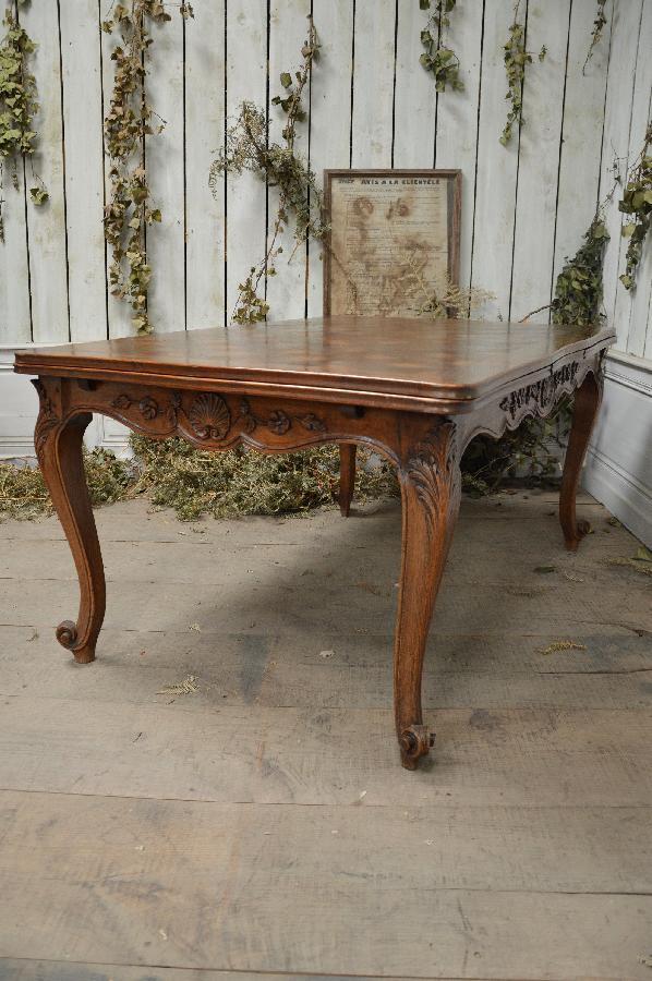French Antique Oak Dining Table With Parquet Top And 2 Extensions Louis XV Style