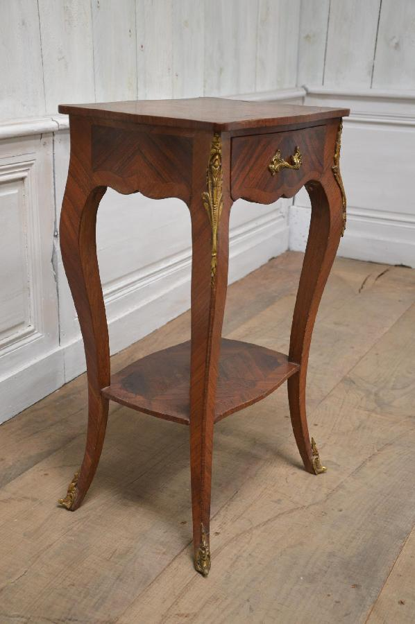 Louis XV Style Marquetry Small Table With Single Drawer